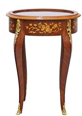 Casa Padrino Barock Beistelltisch Mahagoni Intarsien/Gold H75 x 55 cm - Ludwig XVI Antik Stil Tisch - Möbel - 1