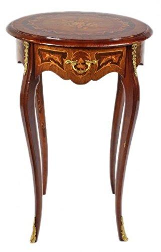 Casa Padrino Barock Beistelltisch Mahagoni Intarsien mit Schublade H70 x 50cm - Ludwig XVI Antik Stil Tisch - Möbel - 1