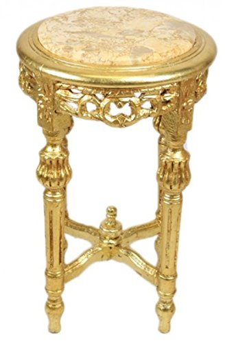Casa Padrino Barock Beistelltisch mit cremefarbener Marmorplatte Rund Gold 50 x 35 cm Antik Stil - Telefon Blumen Tisch - 2