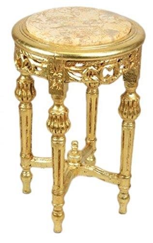 Casa Padrino Barock Beistelltisch mit cremefarbener Marmorplatte Rund Gold 50 x 35 cm Antik Stil - Telefon Blumen Tisch - 1