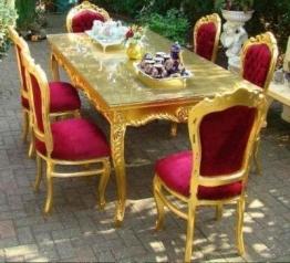 Casa Padrino Barock Esszimmerset Bordeaux/Gold - Esstisch + 6 Stühle - 1