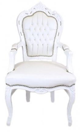 Casa Padrino Barock Esszimmerstuhl Weiß/Weiß Lederoptik mit Armlehnen - Barockstuhl - Antik Stil Stuhl - 1