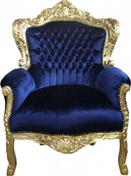 Casa Padrino Barock Sessel 'King' Royalblau/Gold - 1