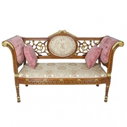 Casa Padrino Barock Sitzbank Gold Muster/Braun 155 x 50 x H. 70 cm - Antikstil Sitzbank - 1