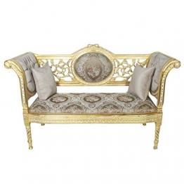 Casa Padrino Barock Sitzbank Grau Creme Muster/Gold 155 x 50 x H. 70 cm - Antikstil Sitzbank - 1