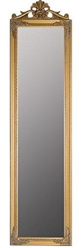 Casa Padrino Barock Standspiegel Gold mit wunderschönem antik-goldenem Barockrahmen und Ornamentaufsatz H. 180 cm - Handgefertigt - 1