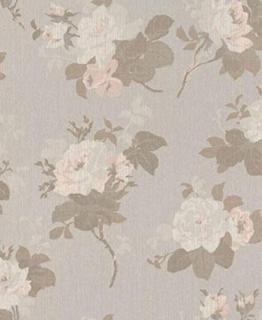 Casa Padrino Barock Textiltapete Grau/Braun/Rosa 10,05 x 0,53 m - Tapete mit Blumenmuster - 1