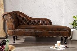 Casa Padrino Chesterfield Recamiere/Chaiselongue Antikbraun aus dem Hause Wohnzimmer Liege Sofa - 1