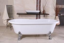Casa Padrino Freistehende Badewanne Jugendstil Milano Weiß/Silber - Barock Badezimmer - 1