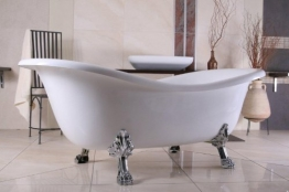 Casa Padrino Freistehende Badewanne Jugendstil Paris Weiß/Silber 1880mm - Barock Badezimmer - 1