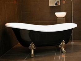 Casa Padrino Freistehende Badewanne Jugendstil Roma Schwarz/Weiß/Altgold 1470mm - Barock Antik Badezimmer - 1