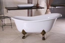 Casa Padrino Freistehende Badewanne Jugendstil Roma Weiß/Altgold 1470mm - Barock Badezimmer - Retro Antik Badewanne - 1