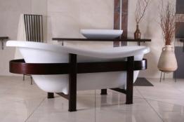 Casa Padrino Freistehende Badewanne Jugendstil Toscane 1675mm Weiß/Holzgestell Braun - Antik Stil Badezimmer - 1