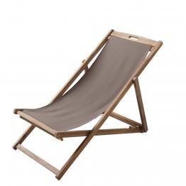 Chaiselongue / Klappliegestuhl taupe aus massivem Akazienholz Panama