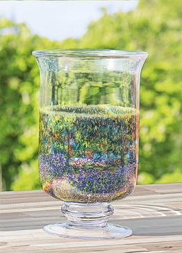 Claude Monet: Windlicht / Vase ´Irisbeet´, Glas, Glas/Kristall