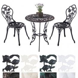 CLP Sitzgruppe GANESHA, Garten-Set Gusseisen, antik, Tisch rund Ø 65 cm Bronze