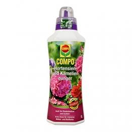 COMPO Hortensien- und Kameliendünger für alle Morbeetpflanzen im Haus, auf Balkon und Terrasse sowie im Garten, Spezial-Flüssigdünger mit extra Eisen, 1 Liter - 1