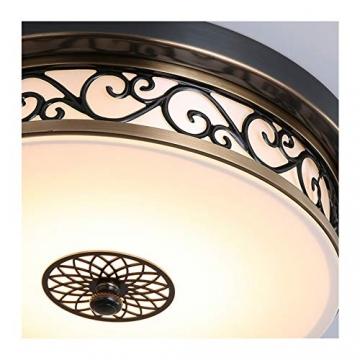 Deckenlampe LED Retro Schwarz Dimmbar Vintage Landhaus Rund Eisen Deckenleuchte Innen Design Schlafzimmer Decke Lampen Flur Bad Esszimmer Leuchte Weiß Glas Lampenschirm Deckenbeleuchtung Ø40cm*H13cm - 5