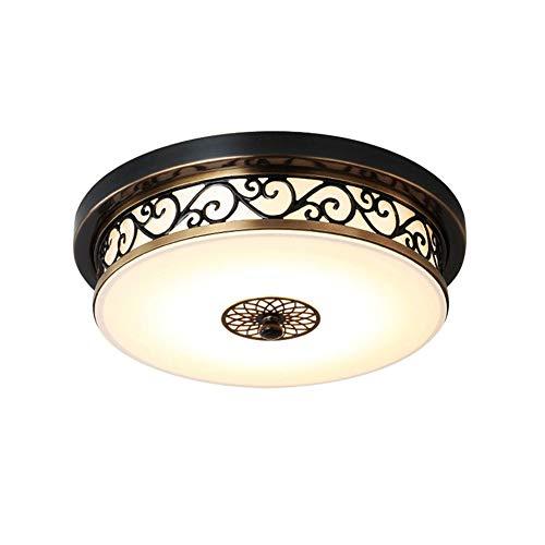 Deckenlampe LED Retro Schwarz Dimmbar Vintage Landhaus Rund Eisen Deckenleuchte Innen Design Schlafzimmer Decke Lampen Flur Bad Esszimmer Leuchte Weiß Glas Lampenschirm Deckenbeleuchtung Ø40cm*H13cm - 1