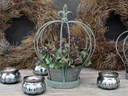 Deko-Krone Fleur de Lys antikgrün Pflanzkrone