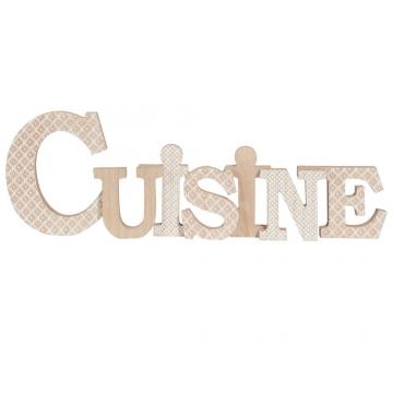 Deko Schriftzug Holzimitation Mit Weißen Motiven 55x18cm Cuisine