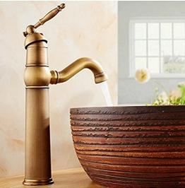 Diongrdk Waschtischarmatur Klassische Badarmaturen Basin Sink Mode Antikes Kupfer Warm Und Kalt Wasserhahn Einlochmontage Zähler Becken Wasserhähne - 1