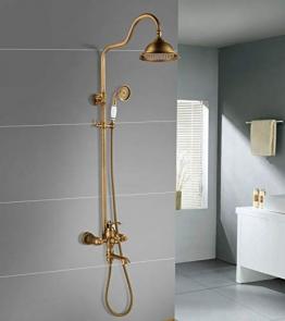 Dusche Vintage Messing mit Handbrause und Regendusche Duschsystem mit Mischbatterie höhenverstellbar Duschset Gruppo doccia Gold - 1