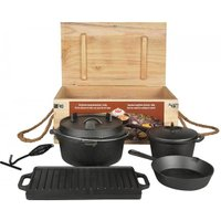 Dutch Oven Set 7-teilig Outdoor Kochset Gusseisen Lagerfeuer Grillplatte Pfan...