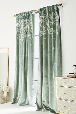 Elondra Bestickter Vorhang - Moss