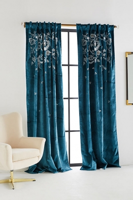 Elondra Bestickter Vorhang - Turquoise