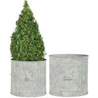 Esschert Design Pflanzkübel Rom, 2er-Set rund, Stahl, weiß