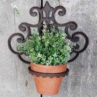 Esschert Design Pflanztopfhalter Lilie, 32x30x17 cm, Gusseisen, braun