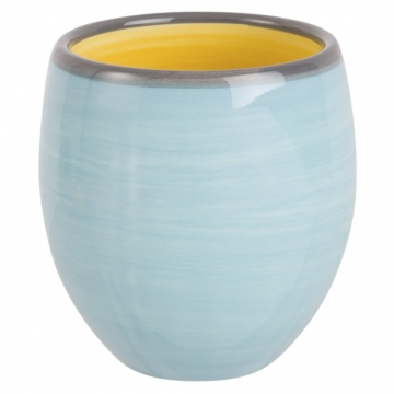 Fayence-Tasse, blau und gelb