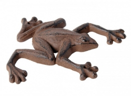 Figur Frosch Gusseisen Gartenfigur Antik-Stil Braun A