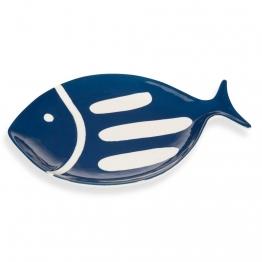 Fischteller aus Fayence, marineblau, OLERON