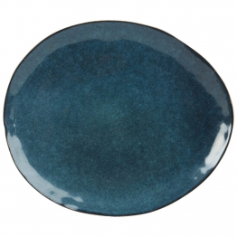 Flacher Fayence-Teller, petrolblau