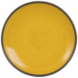 Flacher Teller aus gelber Fayence