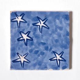 Fliese ´´étoiles´´, blau/weiß, L 10 cm, B 10 cm, H 1cm