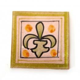 Fliese ´´Fleur de lys´´, grün, L 10 cm, B 10 cm, H 1 cm