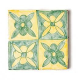 Fliese ´´fleur vertes´´, grün/gelb, L 10 cm, B 10 cm, H 1cm