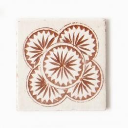 Fliese ´´majolique´´, beige/terracotta, L 10 cm, B 10 cm, H 1 cm