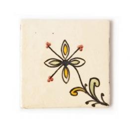Fliese ´´petite fleur´´, vanille, L 10 cm, B 10 cm, H 1cm