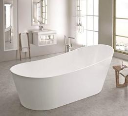 freistehende Badewanne aus Mineralguss 180x85x70 cm weiss Design QUATTRO - 1