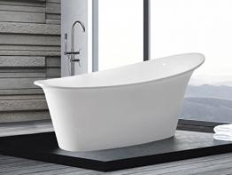 Freistehende Badewanne Haiti 175 x 90 cm ovale Acryl Wanne freistehend weiss schöne exklusive Luxus Badewanne für Bad indoor / innen günstig - 1