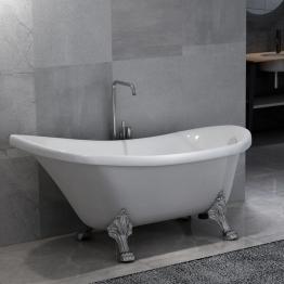Freistehende Badewanne mit Löwenfüßen Weiß Acryl - VIDAXL