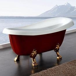 Freistehende Badewanne Nostalgie Wanne Design Standbadewanne 170 x 75 cm Rot-braun gold - 1
