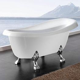 Freistehende Badewanne Nostalgie Wanne Design Standbadewanne 170 x 75 cm Weiß chrom - 1