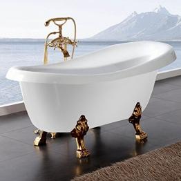 Freistehende Badewanne Nostalgie Wanne Design Standbadewanne 170 x 75 cm Weiß gold inkl. Armatur - 1