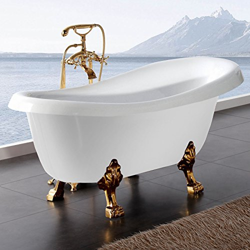 freistehende badewanne nostalgie wanne design standbadewanne 170 x 75 cm wei gold inkl armatur. Black Bedroom Furniture Sets. Home Design Ideas