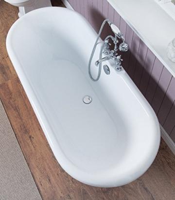 Freistehende Badewanne Wanne Standbadewanne Acryl 1695x740mm weiß - 2